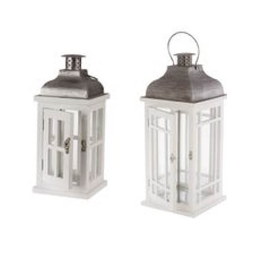 Lanterne bois blanc – 32 cm