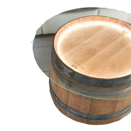 Table basse plateau verre barrique