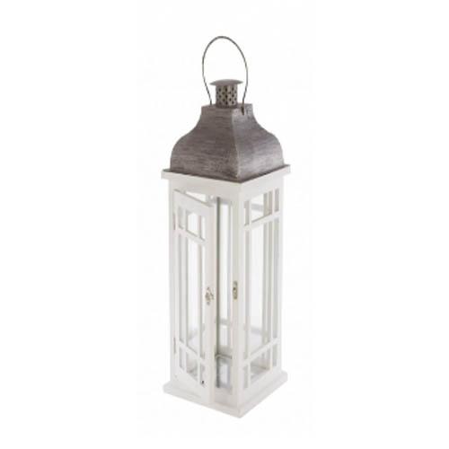 Lanterne bois blanc – 48 cm